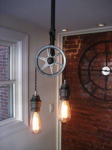 Single Pulley Ceiling Light w Steel Sockets