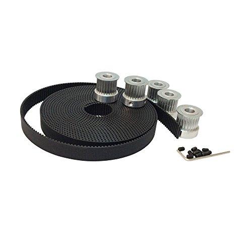 BEMONOC 5Meters 3M Open Ended Timing Belt Width 15mm Polyurethane Belt for Laser Engraving CNC Machines 5pcs 24 Teeth HTD 3M Timing Pulley Bore 635mm