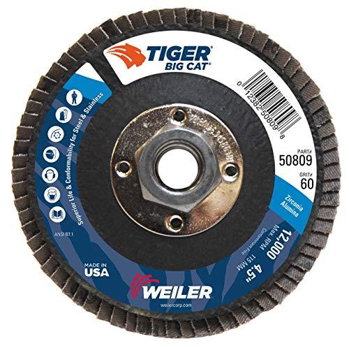 Weiler 50809 Big Cat High Density Abrasive Flap Disc Type 27 Threaded Hole Phenolic Backing Zirconia Alumina 4-12 Dia 60 Grit Pack of 10