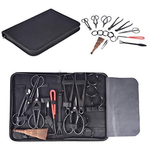 Novania Bonsai Tool Set Carbon Steel 10 Pcs Kit Cutter Scissors Shears Tree Nylon Case