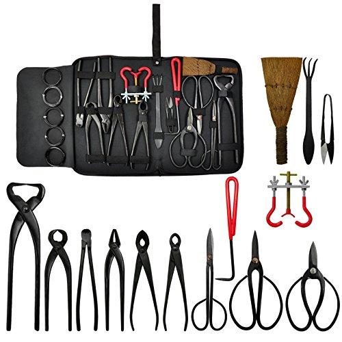 Voilamart 14 Piece Bonsai Tools Kit with Case Carbon Steel Scissor Cutter Shear Set Garden Plant Tools