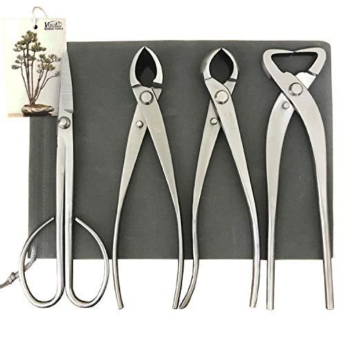 vouiu 4-Piece Bonsai Tool SetConcave CutterKnob CutterTrunk SplitterBonsai Scissors