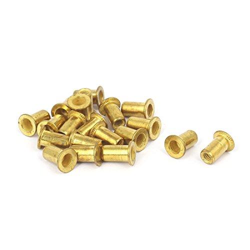 uxcell Furniture M4 Thread Dia 11mm Long Brass Flat Head Rivet Nut Insert Nutsert 20pcs