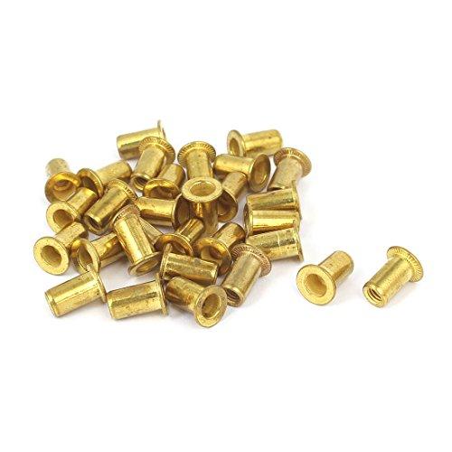 uxcell Furniture M4 Thread Dia 11mm Long Brass Flat Head Rivet Nut Insert Nutsert 30pcs