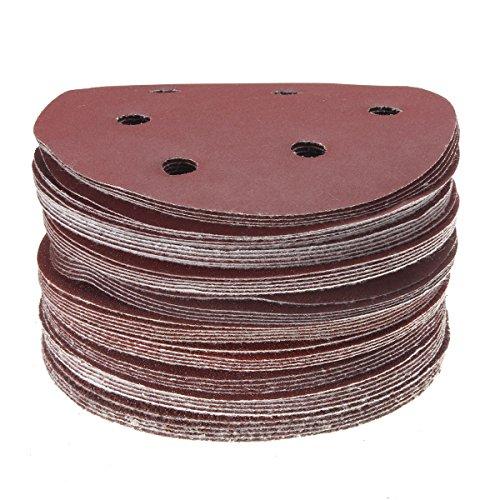 KINGSO 50 Pack Sanding Discs Sandpaper Hook and Loop Pads 406080100120180240320400800 Assorted Grits 6-Hole