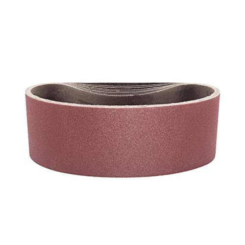 POWERTEC 110430 3 x 21 Inch Sanding Belts  80 Grit Aluminum Oxide Sanding Belt  Premium Sandpaper for Portable Belt Sander - 10 Pack