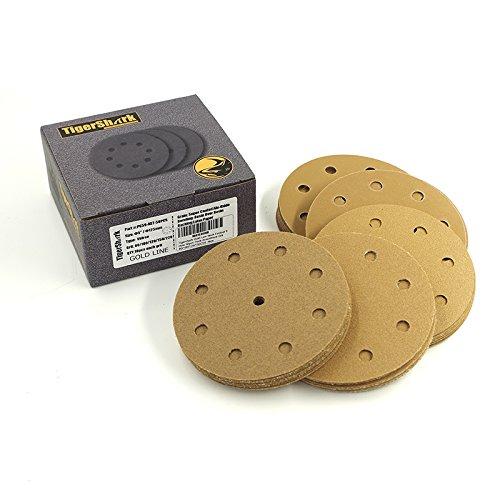 TigerShark 5 Inch 9 Hole Sanding Discs Grit 80100120150220 Assortment 50pcs Pack Special Anti Clog Coating Paper Gold Line Hook and Loop Dustless Random Orbital Sander Paper Coarse
