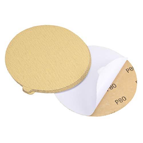 uxcell 6-Inch PSA Sanding Disc Aluminum Oxide Adhesive Back Sandpaper Yellow 80 Grit 5 Pcs