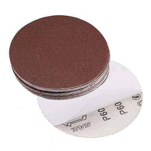 uxcell 6-inch PSA Sanding Discs 60 Grits Self Stick Adhesive Back Aluminum Oxide Sandpaper 20pcs