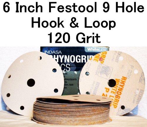 White Rhynogrip 6 inch Festool 9 Hole Velcro Sanding Discs 120 Grit 50box
