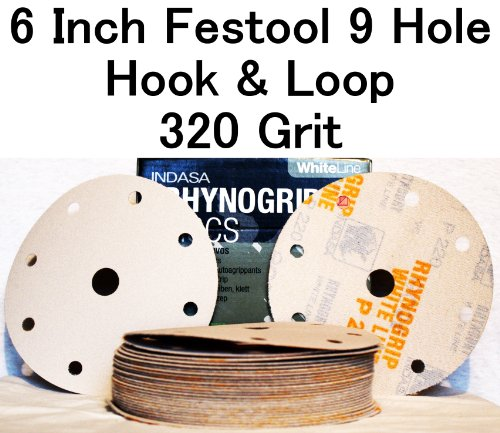 White Rhynogrip 6 inch Festool 9 Hole Velcro Sanding Discs 320 Grit 50box
