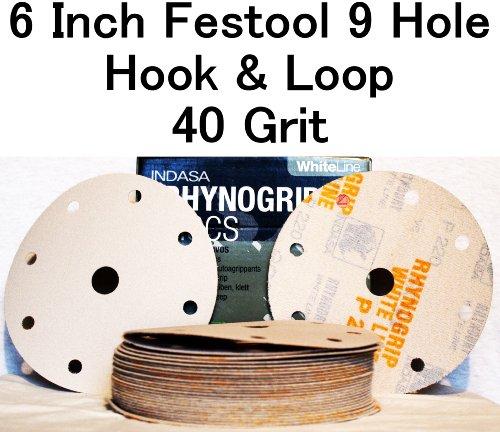White Rhynogrip 6 inch Festool 9 Hole Velcro Sanding Discs 40 Grit 50box