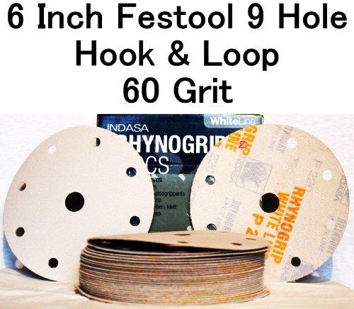 White Rhynogrip 6 inch Festool 9 Hole Velcro Sanding Discs 60 Grit 50box
