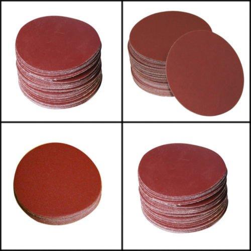 SHINA 50pcs 7 180 GRIT Sanding Discs Velcro Hook Loop Backed Aluminum Oxide Sandpaper