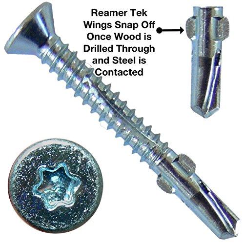 10 x 1-58 Reamer Tek TorxStar Head Self-Drilling Wood to Metal Screws - 1 Pound ~113 Tek Screws - Tek Screws for Flatbeds Trailers or where Fastening Wood to Steel - T-25 Torx Screw Head