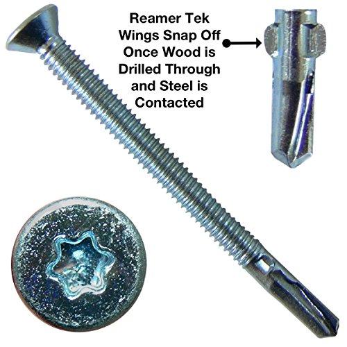 14 x 3-14 Reamer Tek TorxStar Head Self-Drilling Wood to Metal Screws - 1 Pound ~30 Tek Screws - Tek Screws for Flatbeds Trailers or where Fastening Wood to Steel - T-25 Torx Screw Head