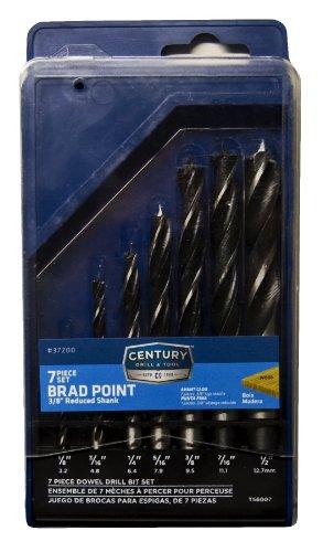 Century Drill Tool 37200 Brad Point Wood Drill Bit Set 7-Piece