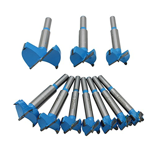 AUTOTOOLHOME New 10pc Professional Forstner Drill Bit Set Woodworking Hole Saw Wood Cutter