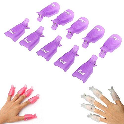 Schoolsupply 10PCS Plastic Nail Art Beauty Equipment Soak Off Cap Clip UV Gel Nail Polish Remover Wrap Nail Beauty Manicure Tools