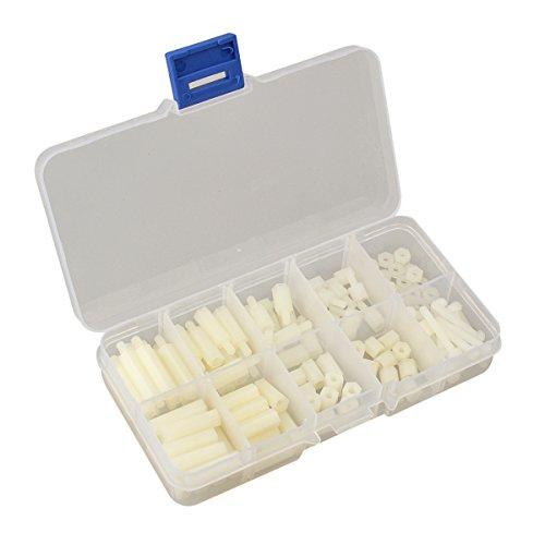 U-MestTM M3 Nylon Hex Spacers Screw Nut Stand-off Plastic Accessories Assortment with Plastic Box White 120pcs