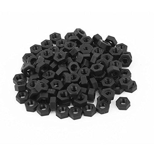 uxcell M3 Thread Insert Lock Screw Fastener Nylon Hex Nuts Black 100pcs