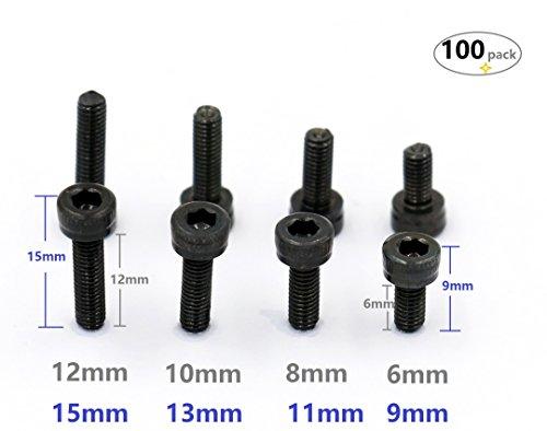 iExcellTotal 100-Pack M3 x 6mm M3 x 8mm M3 x 10mm M3 x 12mm Each 25 Pcs 129 Grade Alloy Steel Hex Bolt Socket Head Cap ScrewsBlack