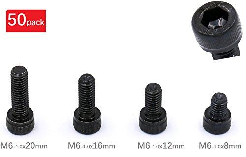 iExcell Total 50-Pack M6 x 8mm M6 x 12mm M6 x 16mm M6 x 20mm Mixed 129 Grade Alloy Steel Hex Bolt Socket Head Cap ScrewsBlack