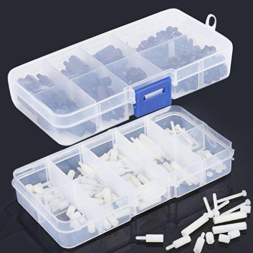 Proimb 300pcs M2 M3 Nylon Hex Nuts Screws Spacers Stand-off Plastic Accessories Assortment White Black