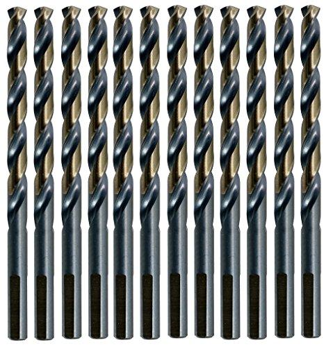 12-Pack 1964 135 Deg Black and Gold Drill Bits - Jobber Length