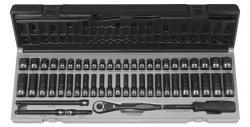 Grey Pneumatic 89653CRD 14 Drive 53pc StandardDeep Length Fractional and Metric Duo-Socket Set - 6 P