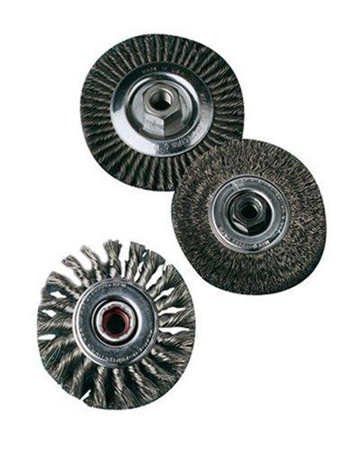 SAIT 06435 4 x 014 x M14 x 20 Arbor Stainless Bristle Regular Twist Knot Crimped Style Angle Grinder Wire Wheel