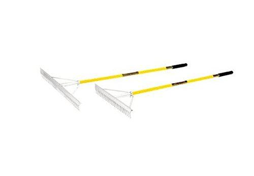 Structron 12100 LR24 24 Head Landscape Rake 66 Yellow Fiberglass Handle Cushion Grip