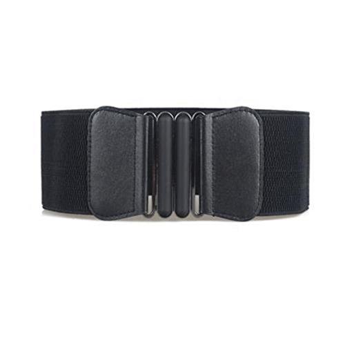 UNKE Vintage Buckle Wide Stretch Elastic Corset Waist Belt Waistband For Women