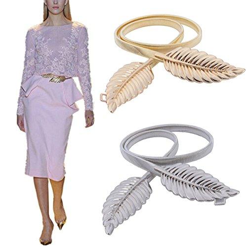 Yosoo Metal Leaves Elastic Stretch Gold and Silver Waist Belt Strap Cummerbund Waistband for Women Silver and Gold