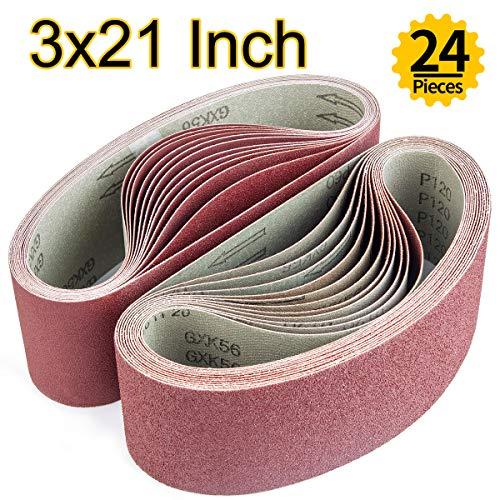 ABRTEN Sanding Belts 3x21 Inch 76x533mm Aluminum Oxide Assorted kit 24 Pack 4 Each of 60 80 120 150 240 400 Grits For Belt Sander
