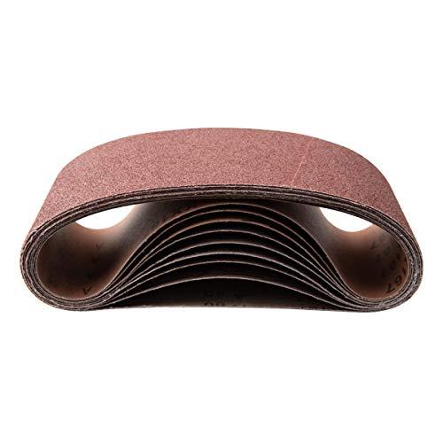 POWERTEC 110530 6 x 48 Sanding Belts  80 Grit Aluminum Oxide Sanding Belt  Premium Sandpaper For Portable Belt Sander - 10 Pack