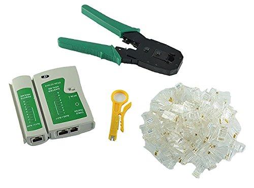 Home FurnishingCable Tester Crimping Plier Crimper 100 Rj45 Cat5 Cat5e Connector Plug Network Tool Set