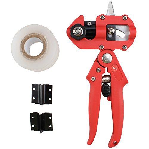 AGPtEKÂ Professional Nursery Grafting Tool Knife Tree Pruner 2 Extra Blades Free Grafting Tape - Red