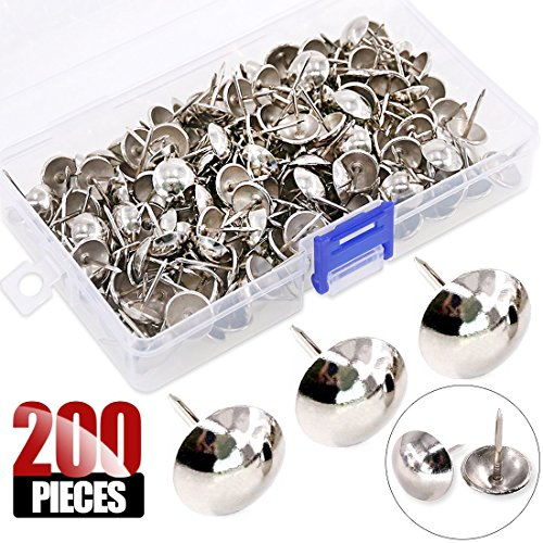 Hilitchi 200-Pieces 916 14mm Antique Upholstery Nails Tacks Furniture Tacks Upholstery Nails Tacks Thumb Tack Push Pins Assortment Kit Silver