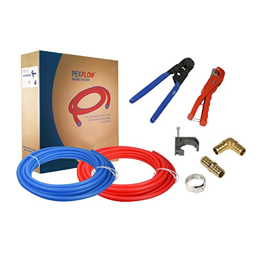 Pexflow PXKT10012 Pex Starter Kit - Crimper Cutter Tools 12-In Brass Elbow Coupling Fittings 12-In Stainless Steel Cinch Clamp 12-In Half Clamp 12-In X 100ft PEX Tubing 1 Red  1 Blue