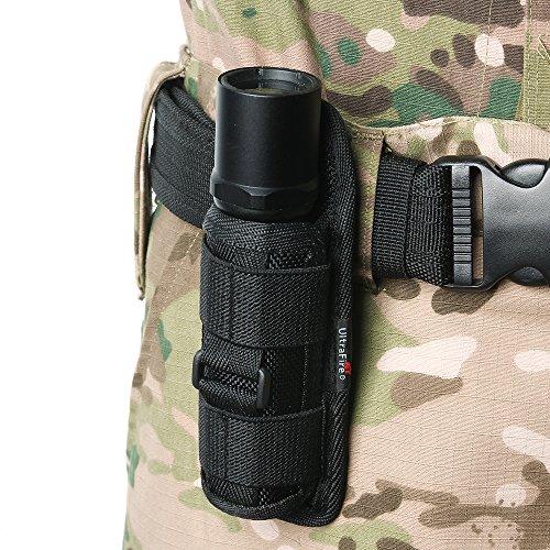 UltraFire 402 Elastic Nylon Flashlight Holster Pouch Case Cover Skin Molle with 360 Degrees Rotatable Belt Clip for WF-502B XML T6 L2 C8 Flashlight Black