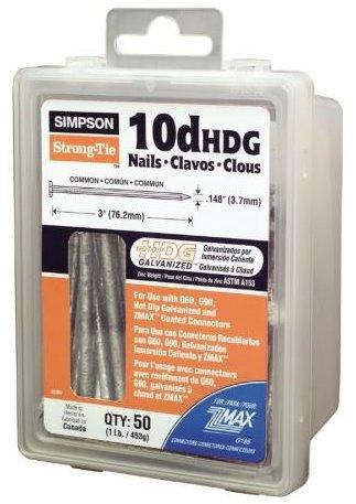 Simpson Strong Tie 10DHDG 10D 0148 x 3 Nails HDG 1-lb Tub 50 approx per Tub