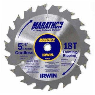 5 Pack Irwin 14015 5-38in 18-Tooth FramingRipping Marathon Cordless Circular Saw Blades