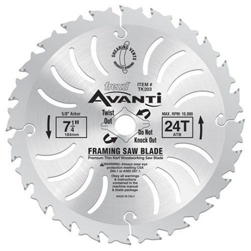 Freud TK203 Avanti 7-14-Inch 24 Tooth ATB Thin Kerf Framing Saw Blade with 58-Inch and Diamond Knockout Arbor