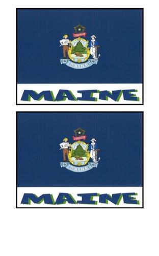 2 Souvenir Maine State Flag Stickers Decal Laptop Phone Locker Toolbox Wall Stocking Stuffer