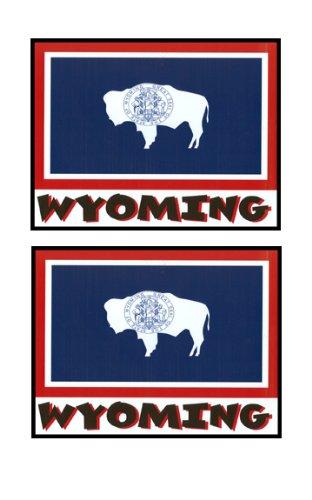 2 Souvenir Wyoming State Flag Stickers Decal Laptop Phone Locker Toolbox Wall Stocking Stuffer
