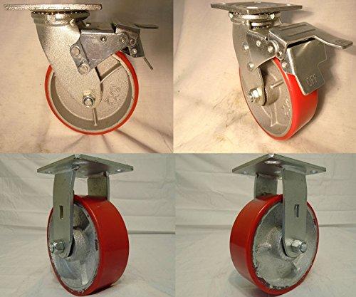6 X 2 Swivel Caster Heavy Duty Polyurethane Wheel with Total Lock Brake 2 and Rigid 2 1200lb Ea Tool Box