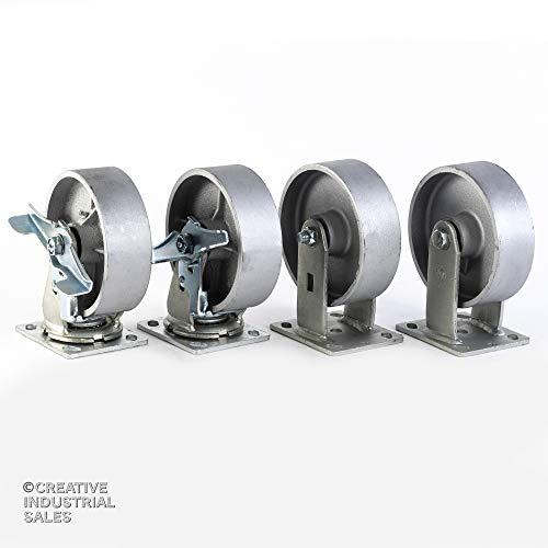 6 X 2 Swivel Caster Heavy Duty Semi-steel Wheel with Brake 2 and 2 Rigid 1200lb Each Tool Box