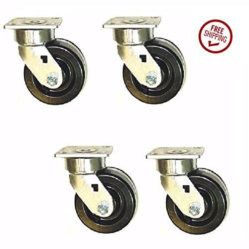 Set of 4 Extra Heavy Duty Phenolic Swivel Tool Box Casters with 6 x 2 Wheel
