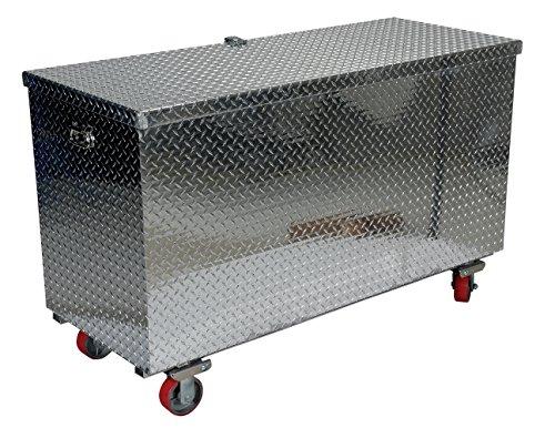 Vestil model APTS-2448-C aluminum treadplate portable tool box with casters 2500 lb capacity 24 x 48